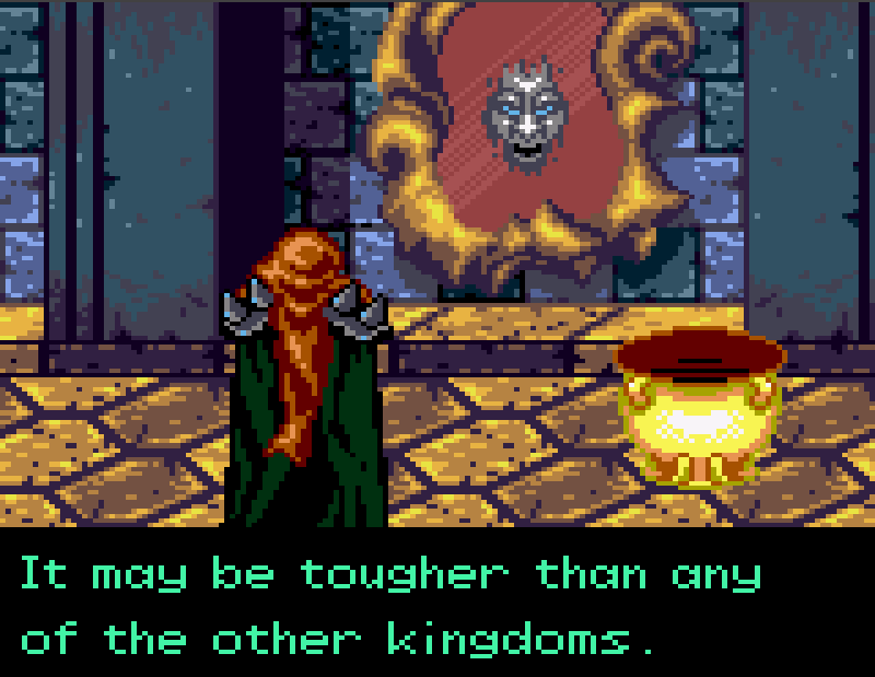 Defenders of Oasis - Our villain communicates with a magic mirror