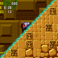 Sonic the Hedgehog - Sliding down a watery slope