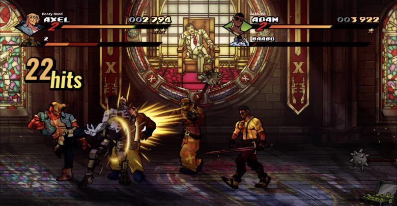 Streets of Rage 4 - Adam and Axel fight off thugs in front of a stained glass window.